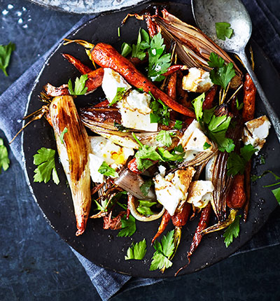 Balsamic shallots & carrots with goat's cheese