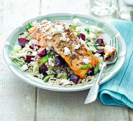 Spiced salmon with beetroot, feta & wild rice