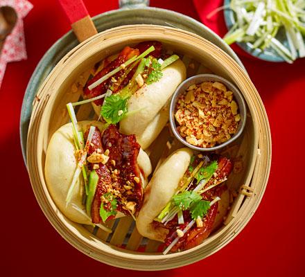 Sticky pork belly bao buns