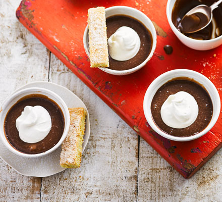 Milk chocolate pots with citrus shortbread