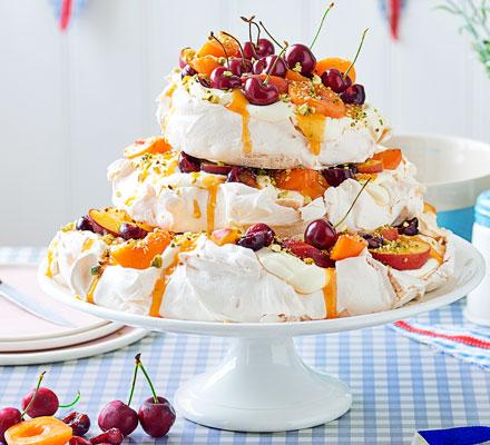 Cherry, apricot, peach & pistachio meringue stack