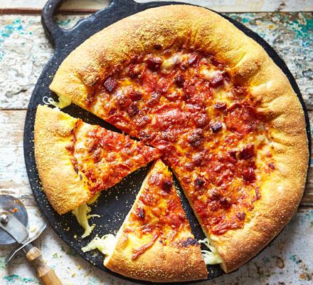 Mozzarella stuffed crust pizza