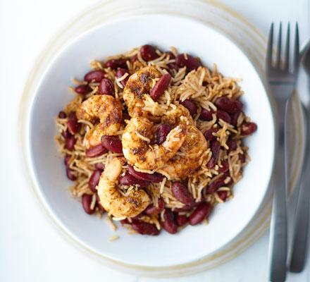 Jerk prawn & coconut rice bowls