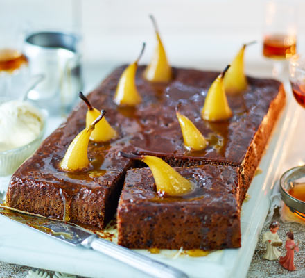 Sticky toffee pear pudding