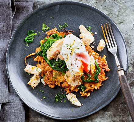 Parsnip latkes with smoked haddock & poached egg