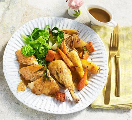 Roast chicken with garlic & rosemary root veg