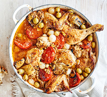 Chicken Provençal with olives & artichokes