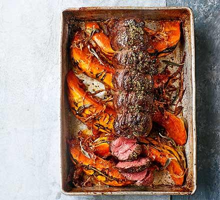 Roast venison loin with pumpkin & Sichuan salt