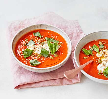 Roasted red pepper & tomato soup with ricotta