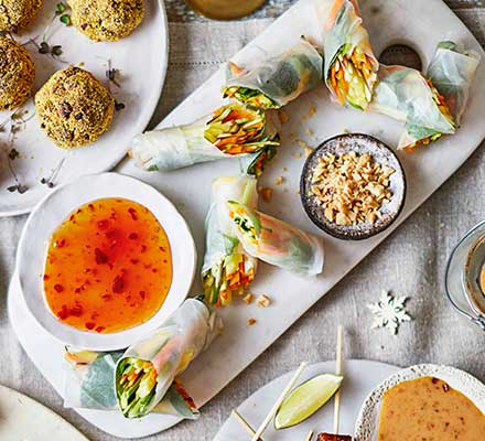Vegan rainbow spring rolls