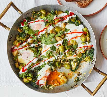 Sprout & spinach baked eggs