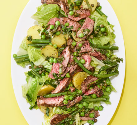 Seared beef salad with capers & mint