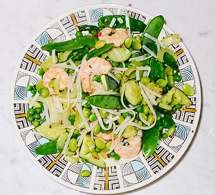Sesame prawn & smacked cucumber rice noodles
