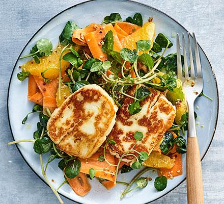 Halloumi, carrot & orange salad