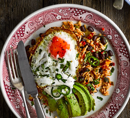 Black beans & rice with fried egg, avocado & pickled onions