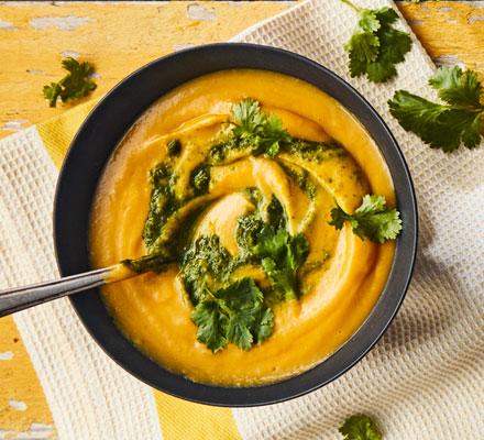 Sweet potato, coconut & lemongrass soup with coriander sambal