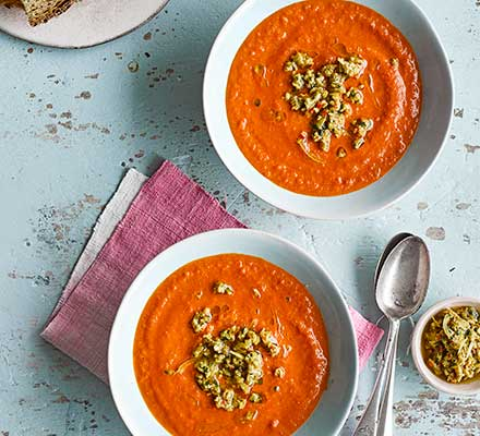 Smoky tomato soup with preserved lemon & green olive salsa