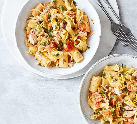 Lemony tuna, tomato & caper one-pot pasta