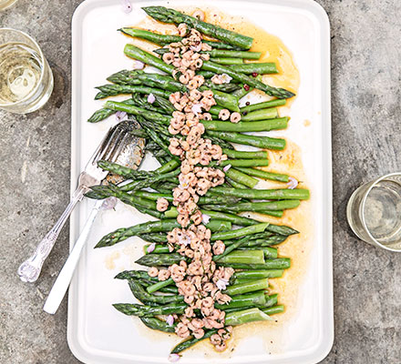 Asparagus with spiced butter & brown shrimp