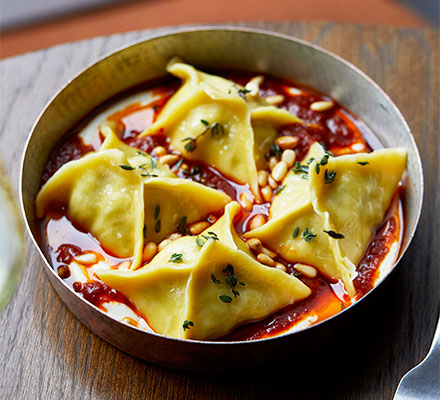 Beef & sour cherry manti with tomato-chilli butter
