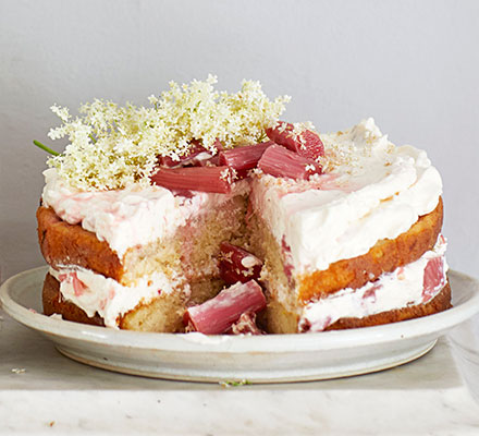Rhubarb & elderflower cake
