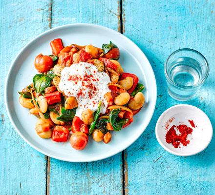 Rustic beans & spinach with garlic yogurt