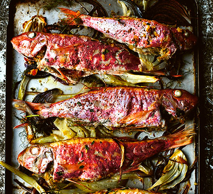 Baked anchovy-stuffed red mullet with fennel