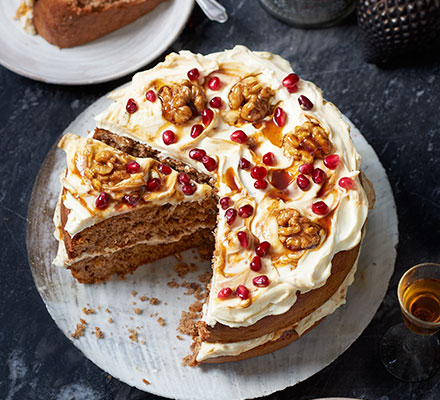 Spiced walnut cake with pomegranate molasses frosting