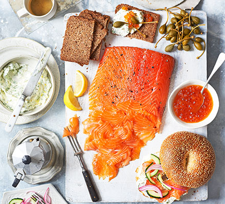 Cured salmon build-your-own bagel board