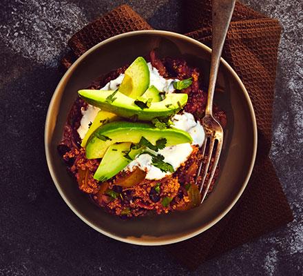 Quinoa chilli with avocado & coriander