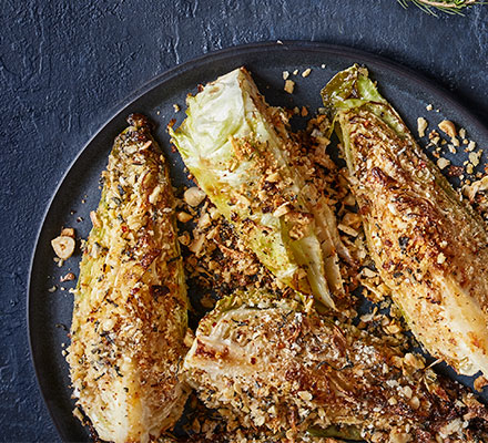 Roasted hispi cabbage with a garlic & chilli crumb