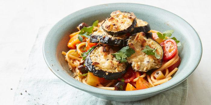 Cheesy aubergine & tomato spaghetti