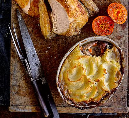 Roast guinea fowl crown with leg 'shepherd's pie'