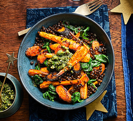 Root veg lentil bowl with herb pistou