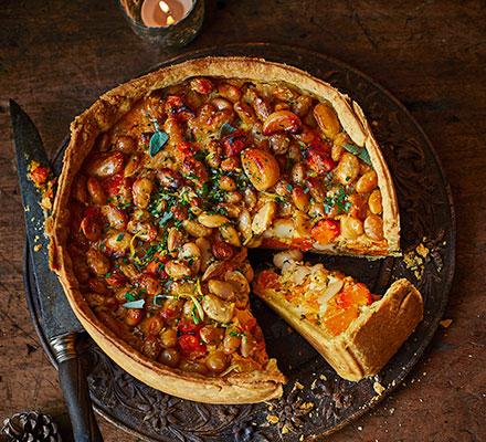 Squash, winter herb & crispy butter bean pie