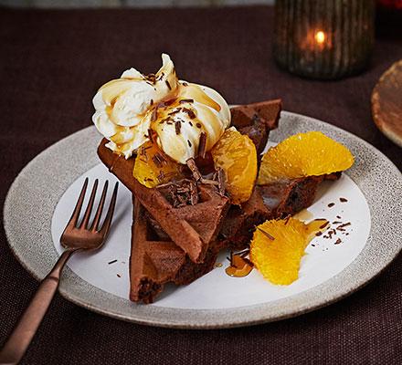 Chocolate orange waffles
