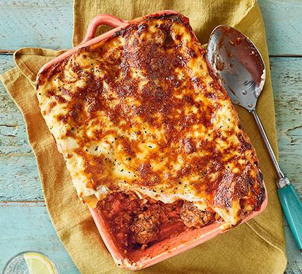 Veg-packed meatball lasagne
