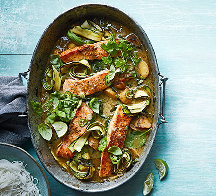One-pan Thai green salmon