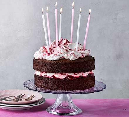 Chocolate & raspberry birthday layer cake