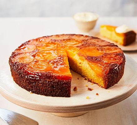 Apricot, almond & polenta cake