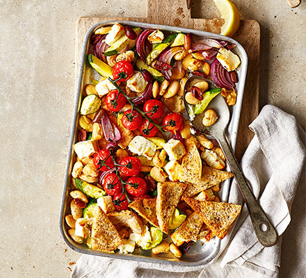 Greek feta traybake