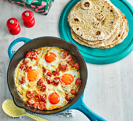 Flatbreads with brunch-style eggs