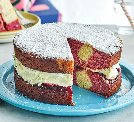 Pink marble sandwich cake