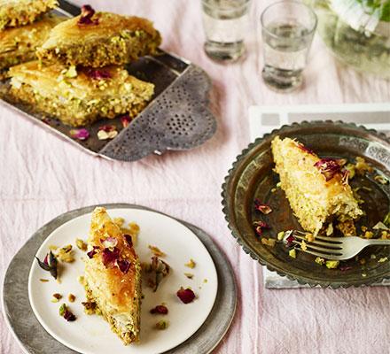 Pistachio, almond, lemon & rose baklava