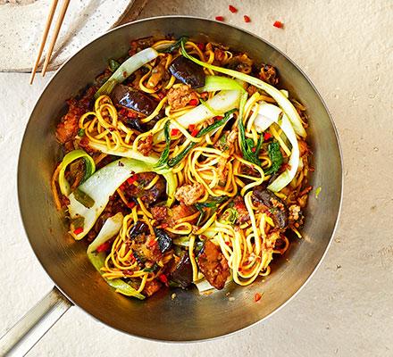 Pork & aubergine noodle stir-fry