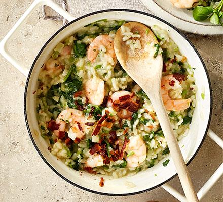 Prawn, pancetta & watercress risotto
