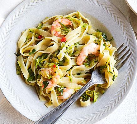 Lemony prawn & courgette tagliatelle