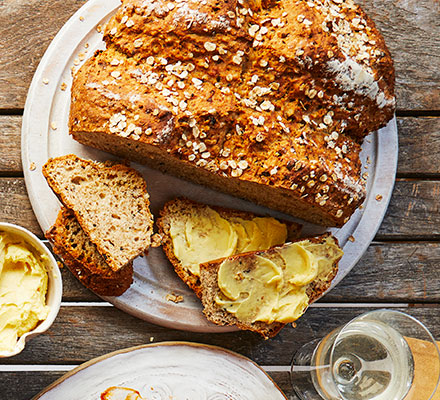 Onion soda bread with whipped English mustard butter