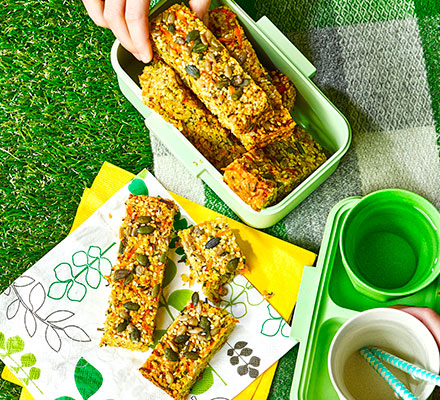 Seeded cheese & chive flapjacks
