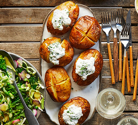 Soured cream & chive jacket potatoes